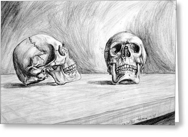 Tabletop Greeting Cards - Skull Study Greeting Card by Walter James Artist