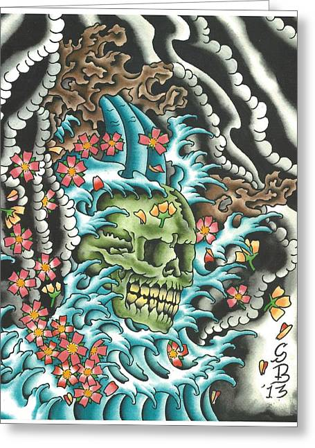 Tattoo Flash Greeting Cards - Skull with Fingerwaves Greeting Card by Scott Bohrer