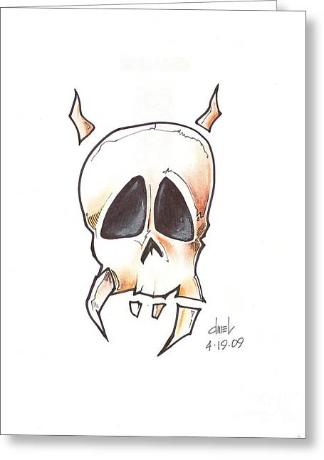 Flash Drawings Greeting Cards - Skull with Horns Greeting Card by David Mel