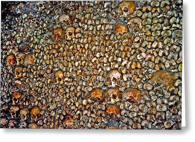 Skulls And Bones Under Paris Greeting Card by Juergen Weiss