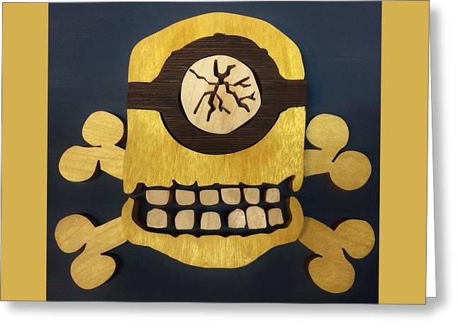 Skull And Crossbones Minion Greeting Card by Michael Bergman