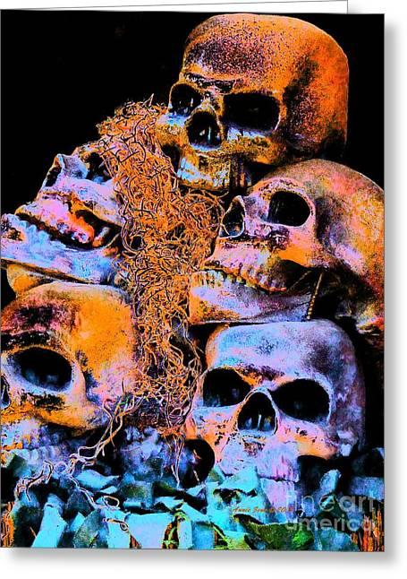Skulls Greeting Card by Annie Zeno