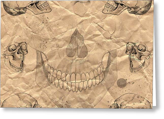 Rumpled Greeting Cards - Skulls In Grunge Style Greeting Card by Michal Boubin