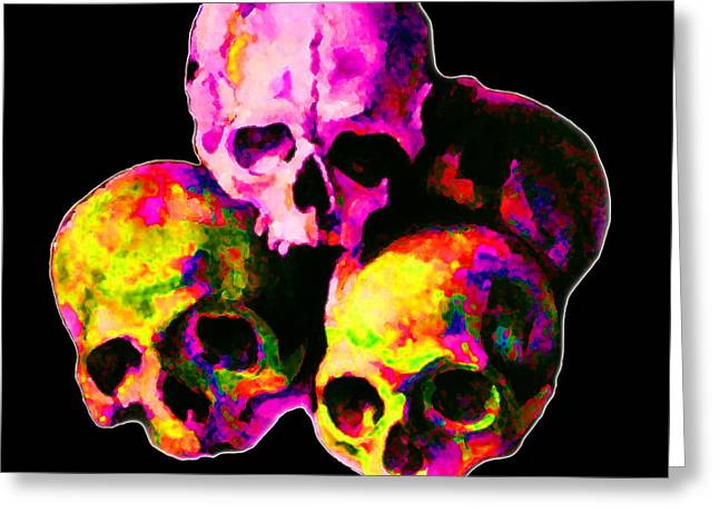 Pink Digital Greeting Cards - Skulls Greeting Card by Vicky Brago-Mitchell