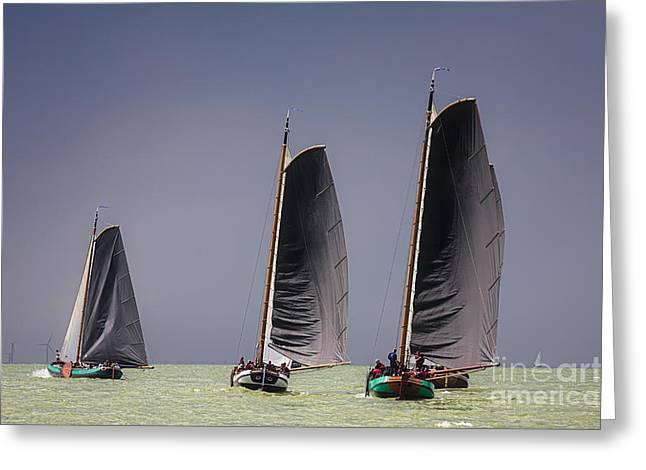Sailboat Images Greeting Cards - Skutsje wedstrijd voor de wind Greeting Card by Jan Brons