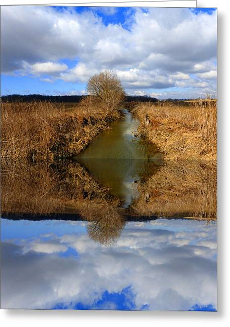 Lawn Chair Greeting Cards - Sky And Creek Reflected Greeting Card by Tina M Wenger