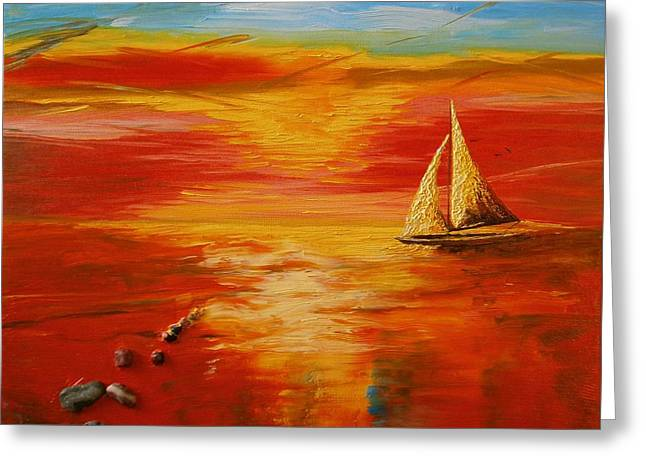 Sky And Sea Greeting Card by Maria Woithofer