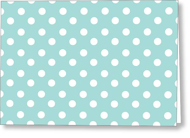 Awesome Tapestries - Textiles Greeting Cards - Sky Blue Polka Dots Greeting Card by Bimbys Collections