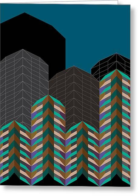 Geometric Design Greeting Cards - Sky City Greeting Card by Marcio Pontes