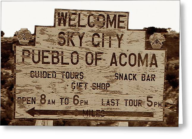 Sky City Sign Greeting Card by David Lee Thompson
