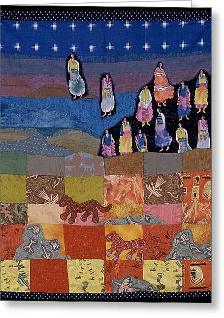 Dancer Tapestries - Textiles Greeting Cards - Sky Dancers Greeting Card by Roberta Baker