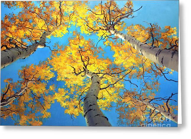 Santa Fe Greeting Cards - Sky High Aspen Trees Greeting Card by Gary Kim