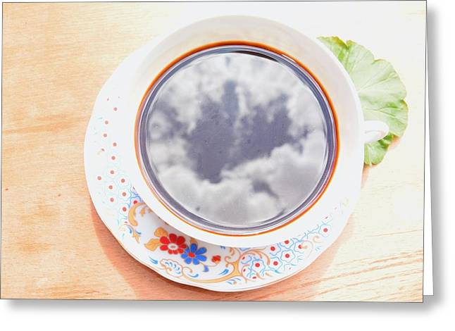 Kaffe Greeting Cards - Sky in a cup Greeting Card by Diliana Kiryakova