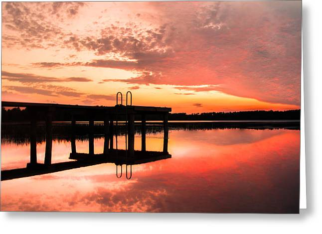Reflections In River Greeting Cards - Sky On Fire Greeting Card by Parker Cunningham