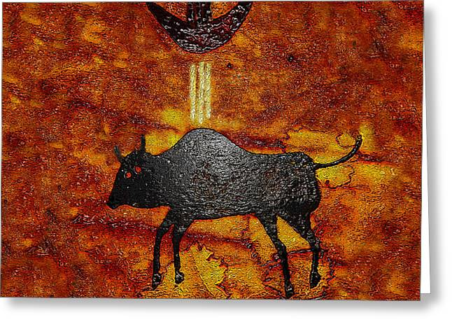 American Indian Legends Greeting Cards - Sky People Taking Buffalo Greeting Card by David Lee Thompson