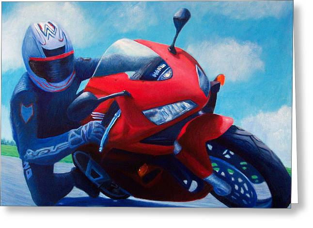 Motorcycle Greeting Cards - Sky Pilot - Honda CBR600 Greeting Card by Brian  Commerford