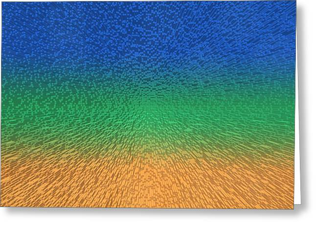 Big Block Greeting Cards - Sky Sea Sand 3D Blocks Greeting Card by Betsy C  Knapp