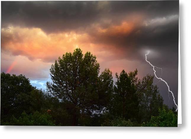 Lightning Strike Greeting Cards - Sky Violence Greeting Card by Frank Wilson