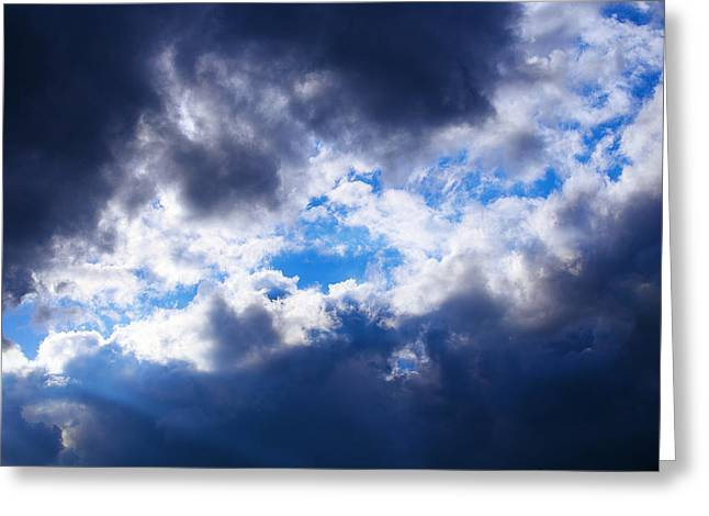 Turbulent Skies Greeting Cards - Sky With Stormy Clouds Greeting Card by Jozef Klopacka