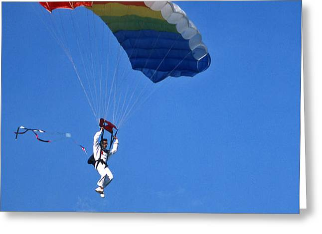 Skydiving - 1 Greeting Card by Randy Muir