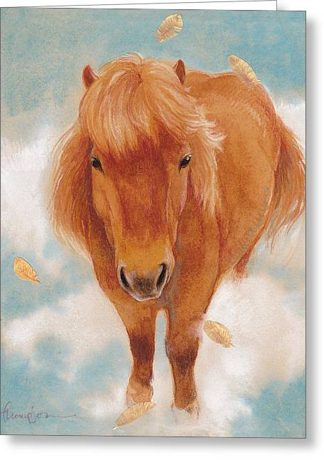 Horse Mixed Media Greeting Cards - Skye in the Clouds Greeting Card by Tracie Thompson