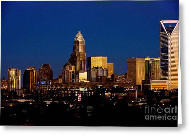 Downtown Charlotte Nc Greeting Cards - Skyline at dusk Greeting Card by Patrick Schneider