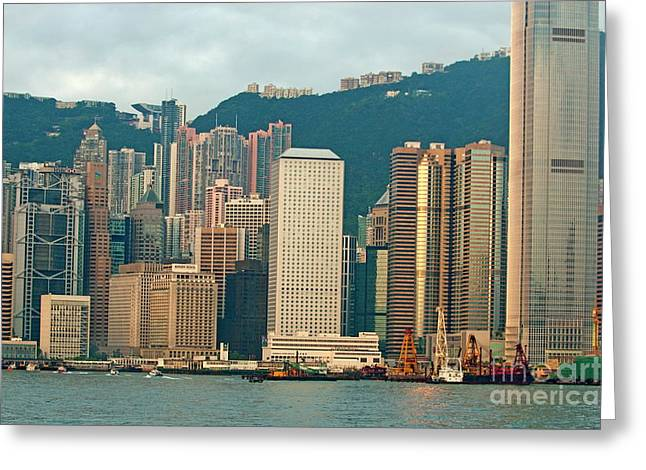Kowloon Greeting Cards - Skyline from Kowloon with Victoria Peak in the background in Hong Kong Greeting Card by Sami Sarkis