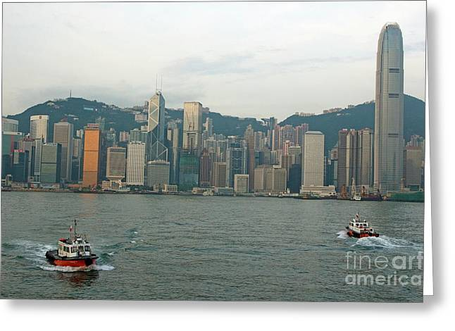 Kowloon Greeting Cards - Skyline from Kowloon with Victoria Peak in the background Greeting Card by Sami Sarkis