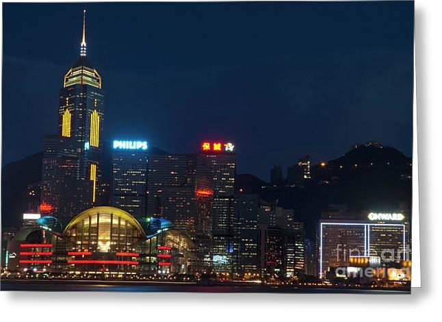 Kowloon Greeting Cards - Skyline illuminated at night from Kowloon Greeting Card by Sami Sarkis