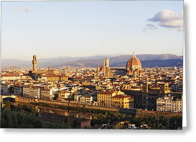 Reflecting Water Greeting Cards - Skyline of Florence from the Piazza Michelangelo at Dawn Greeting Card by Jeremy Woodhouse