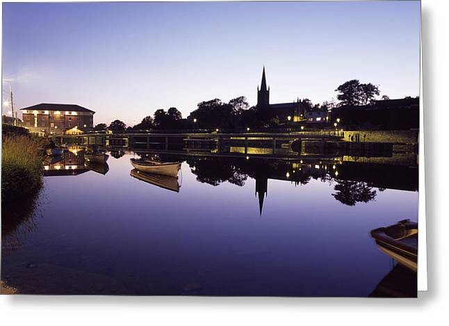 Best Sellers -  - Boats In Reflecting Water Greeting Cards - Skyline Over The R Garavogue, Sligo Greeting Card by The Irish Image Collection