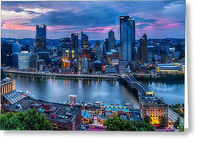 Allegheny Greeting Cards - Skyline Panorama of Pittsburgh  Greeting Card by George Oze