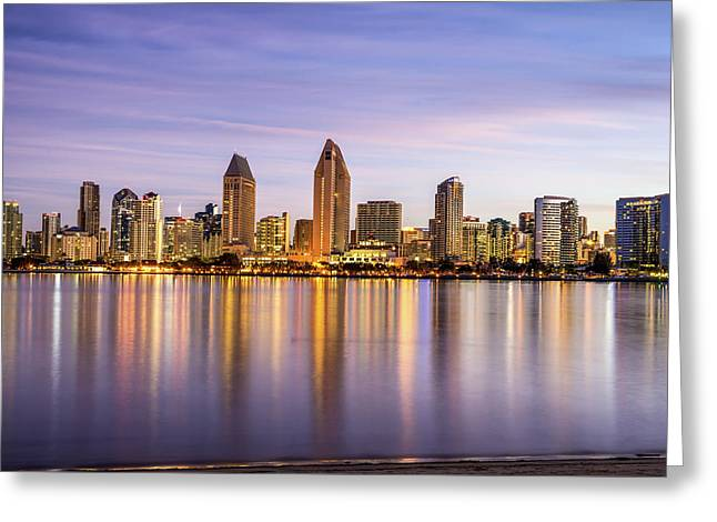 Interior Scene Photographs Greeting Cards - Skyline Reflections Greeting Card by Joseph S Giacalone