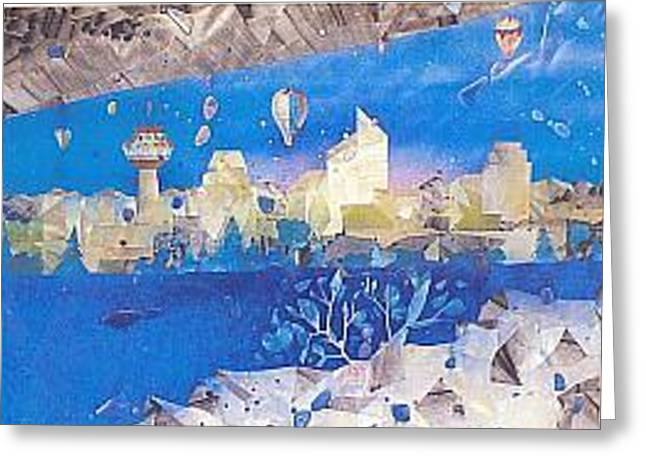 Winter Glass Greeting Cards - Skyline Greeting Card by Rick Silas