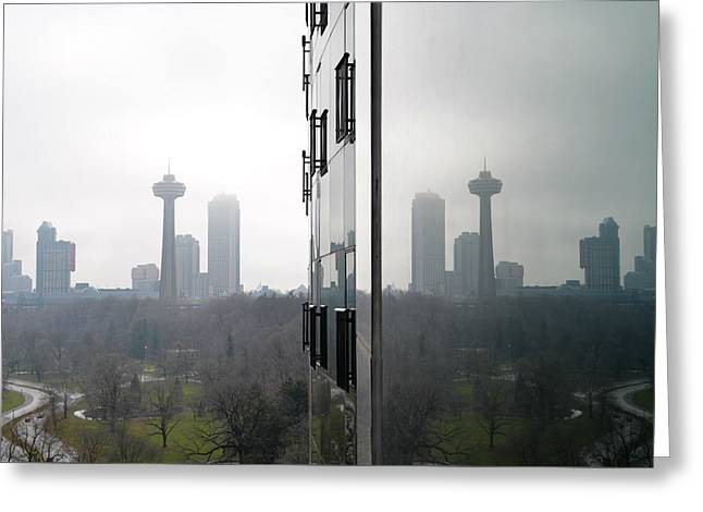 Skylon Tower Reflections - Niagara Falls Canada Greeting Card by Bill Cannon