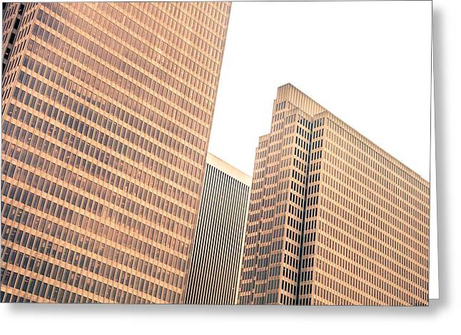 Geometric Shape Greeting Cards - Skyscraper close up in downtown district Greeting Card by Leonardo Patrizi