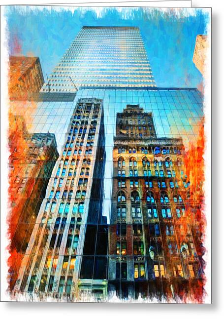 Glass Reflecting Greeting Cards - Skyscraper in New York City Greeting Card by Lanjee Chee