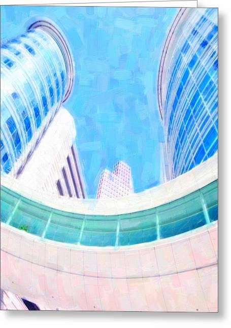 Glass Reflecting Paintings Greeting Cards - Skyscrapers against blue sky Greeting Card by Lanjee Chee