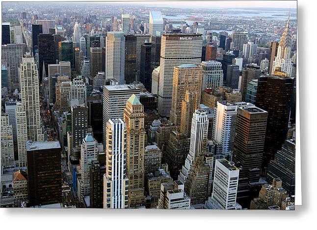 Urbanisation Greeting Cards - Skyscrapers, Manhattan, New York, Usa Greeting Card by Jeremy Walker