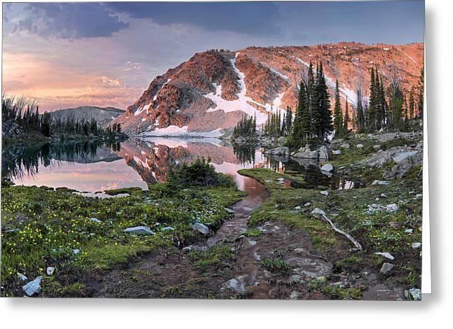 Skytop Lake Sunrise Greeting Card by Leland D Howard