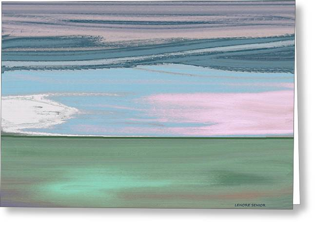 White Paintings Greeting Cards - Skytrails Greeting Card by Lenore Senior