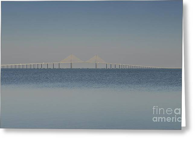 Florida Bridge Greeting Cards - Skyway bridge in blue Greeting Card by David Lee Thompson