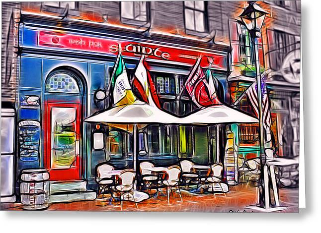 Cup Mixed Media Greeting Cards - Slainte Irish Pub and Restaurant Greeting Card by Stephen Younts