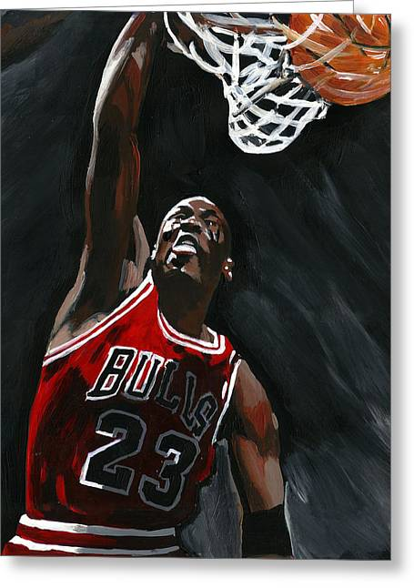 Mj Paintings Greeting Cards - Slam Dunk Greeting Card by Johannes Spiegler