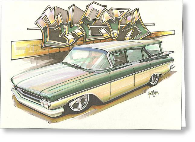 Slam Greeting Cards - Slammed Chevy Greeting Card by Jim Williams
