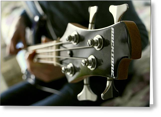 """""""fret Board"""" Greeting Cards - SLAPPING the BASS GUITAR Greeting Card by Daniel Hagerman"""