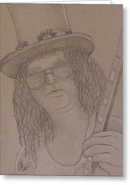 Player Drawings Greeting Cards - Slash 1 Greeting Card by Chris Thomas