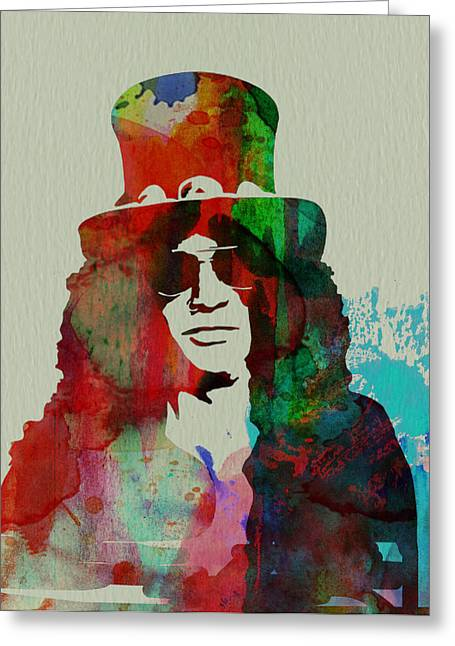 Colorful Roses Greeting Cards - Slash Guns N Roses Greeting Card by Naxart Studio
