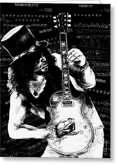 Guitar Player Mixed Media Greeting Cards - Slash Greeting Card by Kathleen Kelly Thompson