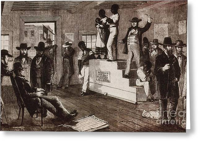 Slavery Greeting Cards - Slave Auction In Virginia Greeting Card by Photo Researchers